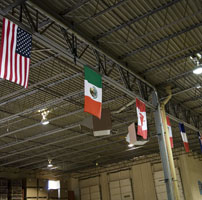 National flags hanging from rafters